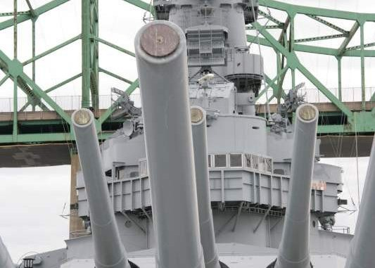 The USS Massachusetts, a World-War-Two era Battleship, on display at Battleship Cove, Fall River, Massachusetts.