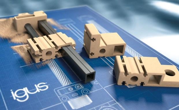Rys.: wydrukowane zgodnie z wymaganiami, szybko dostarczone do klienta: bezsmarowe prowadnice liniowe oraz wsporniki końcowe wałków wykonane z odpornego na ścieranie tworzywa iglidur I3. (Źródło: igus GmbH).
