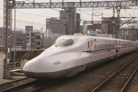 Hiroshima, Japan - September 5, 2014 : N700 Series Shinkansen Bullet Train move past the Hiroshima in Hiroshima Prefecture, Japan.
