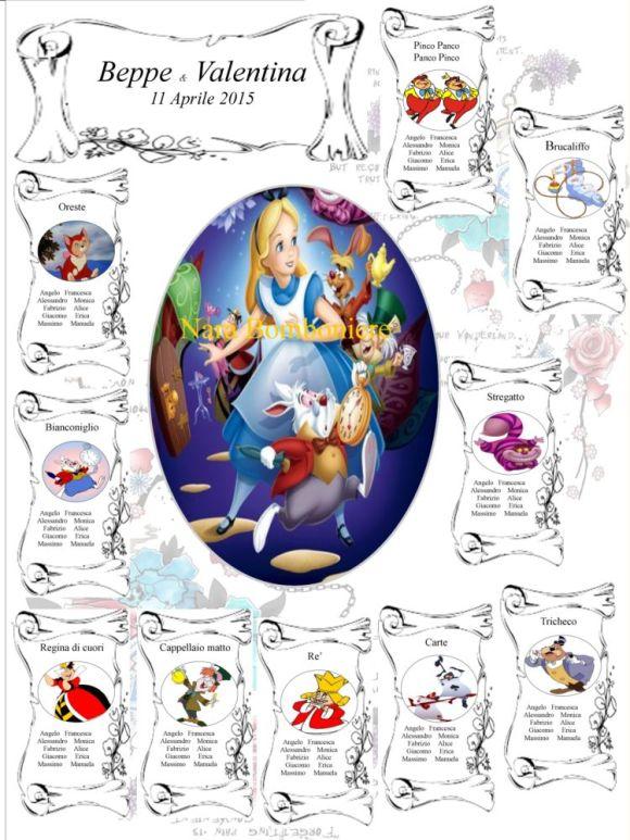 Matrimonio Tema Alice In Wonderland : Tableau mariage tema alice nel paese delle meraviglie