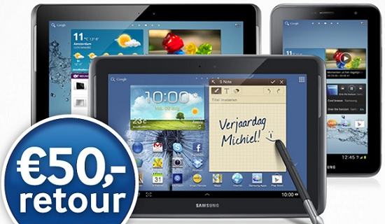 50 euro cashback bij samsung galaxy tab 2 of note 10 1 actie verlengd tablet guide. Black Bedroom Furniture Sets. Home Design Ideas