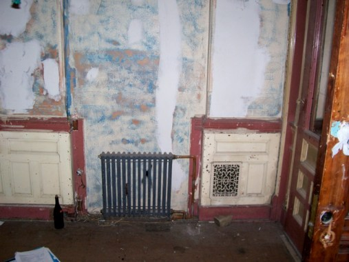 Greene St. Brownstone-Entry way niche and newly installed radiator.