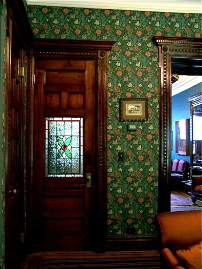 Greene St. Brownstone-Finished view of doorway leading into front hall. Stained glass was fabricated in Park Slope and installed in door.