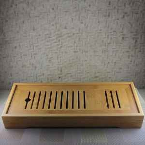 Long Bamboo Tea Tray Angled