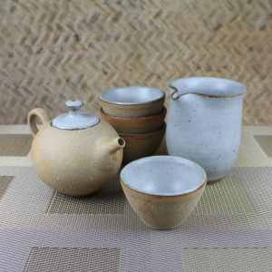 Pumice Clay Round Teapot Gift Set for 4 Above Shot