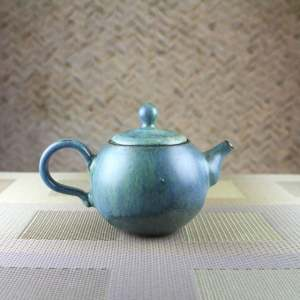 Moondust Blue Smaller Round Teapot Side View