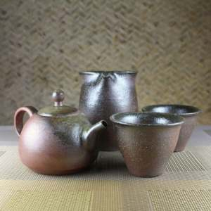 Wood Fired Moss Green Bell Tea Set for 2 Front