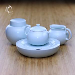 Satin Blue Gongfu Teapot with Pitcher, Urn and Tea Plate
