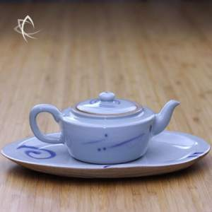 Qinghua Crackle Teapot Plate with Teapot Side View