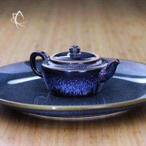 Blue Hare's Fur Ping Jian Teapot and Blue Plate