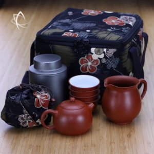 Red Clay Xisi Teapot, Pitcher, Cups and Grey Tin Set with Padded Square Tea Travel Tote Pack