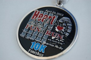 Heart and Sole Fund Run 2013 Finishers Medal