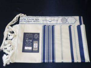 Prima Tallit - Navy with Silver
