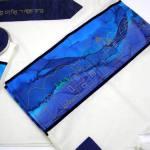 Wedding Tallit with Jerusalem Motif in Blue