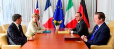 Italian Prime Minister Renzi German Chancellor Merkel, French President Hollande and British Prime Minister Cameron take part in a meeting during a European Union extraordinary summit seeking for a solution to the migrants crisis, in Brussels