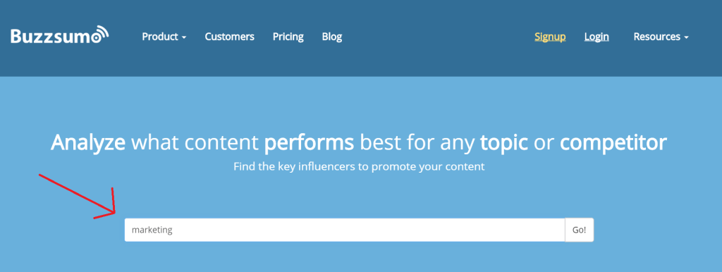 Buzzsumo marketing search
