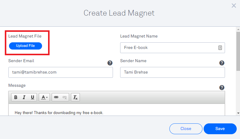 Create a lead magnet in leadpages