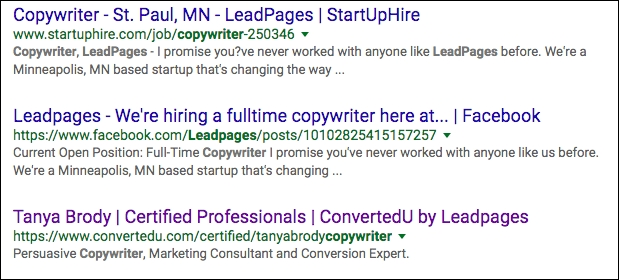 SERP - Leadpages Copywriter