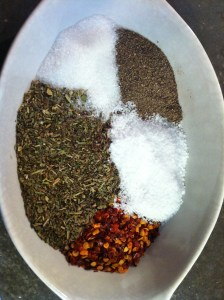 Seasonings I used. Clockwise from top: Sugar, Black Pepper, Salt, Red Pepper Flakes, Italian Seasoning Blend