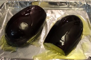 Eggplant ready for the oven.