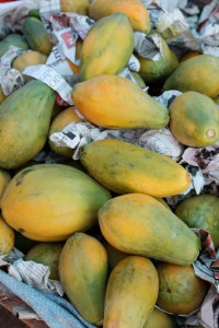 Papayas, known as Pawpaw in Jamaica.