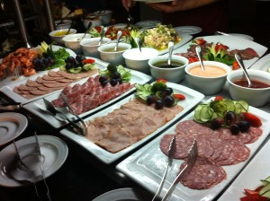 The cold cuts selection.