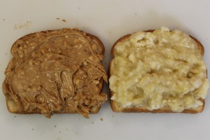 The peanut butter and banana. You can spread both on one piece of bread; I just did it this way for illustrative purposes.