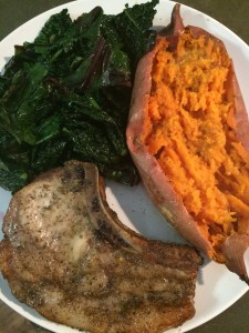 Next night's dinner: Pork Loin Chops (these come from heritage pigs, so they have a substantial amount of fat. But, they also have flavor.), Baked Sweet Potatoes, Sauteed Beet & Dino Kale.