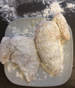 The dredged, dipped, and dredged chicken ready for the fryer.