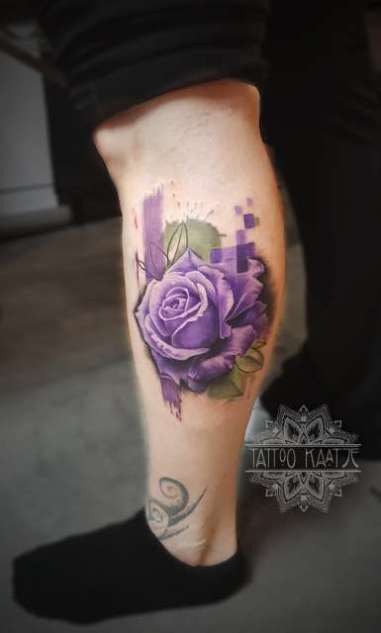 purple - rose - abstract - tattoo - realistic - flower