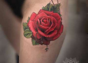 rose - tattoo - roseary - realistic - red rose