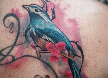 bird - tattoo - cherryblossom - abstract -realistic