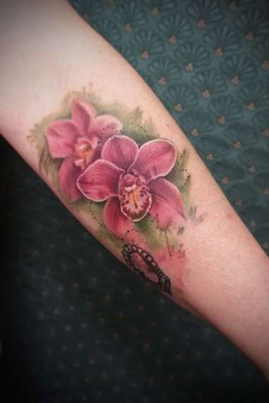 orchid - tattoo - cameo - abstract - aquarel - flowers