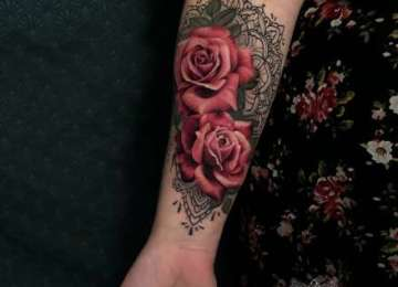 roses - rose tattoo - mandala - dotwork - tattoo