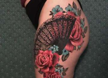rose - rosetattoo - tattoo - spanish fan - abanico