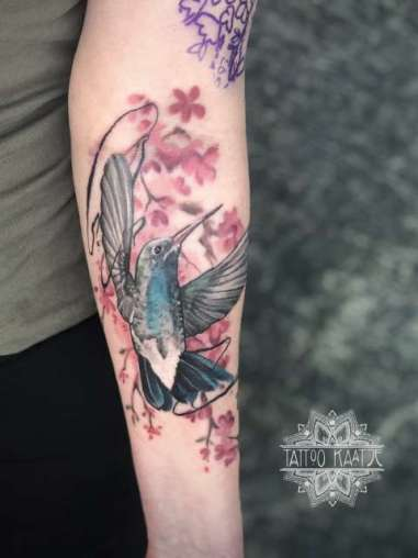 hummingbird - tattoo - watercolour - abstract - cherryblossom