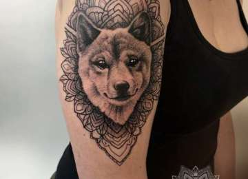 Shiba - shibatattoo - dot work - mandala - dog tattoo - dagloners - dog