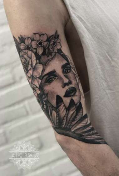tattoo - sleeve - face - bird - nature