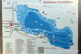 Tauchplatzkarte, Tauchen im Kreidesee Hemmoor, Tauchen in Niedersachsen
