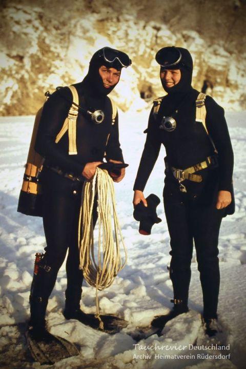 Ingrid und Peter Scharf, Tauchen im Heinitzsee, Historisches Tauchen