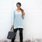 Blue Tunic Sweater + OTK Boots