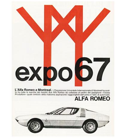 Advertisement for the 1967 Alfa Romeo Montreal - that's right, we once had a sports-car named after us...