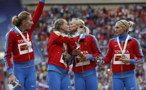 Russia athletes protesting 'anti-gay propaganda' laws - photo credit to Reuters