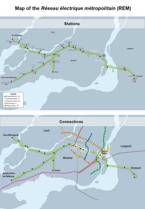 The new LRT system route and the LRT combined with Métro and AMT commuter rail lines