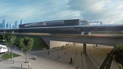 Conceptual rendering of planned LRT station, possibly at Bridge and Wellington