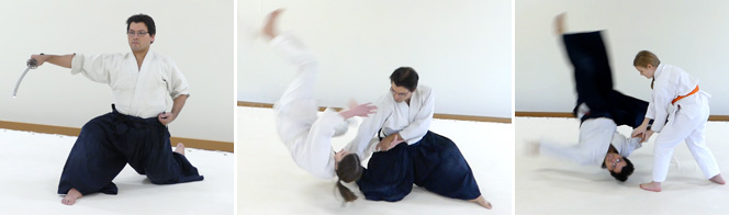 Robert Gutierrez, nidan, practices and holds black belts in both Aikido and Iado. He regularly attends national seminars to learn from UAF Technical Committee members. Robert has a passion for ukemi and dynamic throws. He  teaches the Wednesday evening adult and the Saturday morning youth classes.