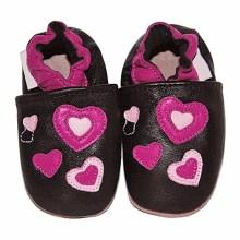 Chaussons bébé enfant en cuir souple Coeurs TchooC