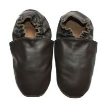 chaussons bébé enfant adulte en cuir souple brun Eko Tuptusie