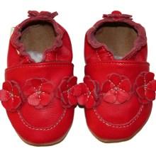 Collection unique rouge Chaussons en cuir souple Eko Tuptusie