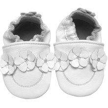 Chaussons cuir bébé Collection unique blanc face